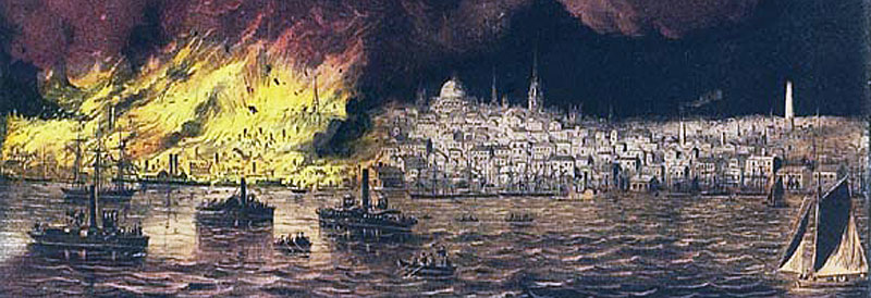 Currier and Ives print of the 1872 Boston fire.