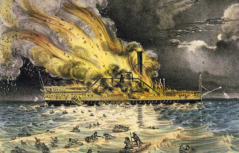 Currier and Ives print of ferry boat fire.