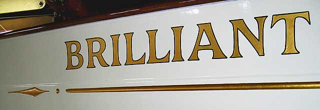 historic schooner Brilliant's gold bow name copied and reproduced from previous lettering.