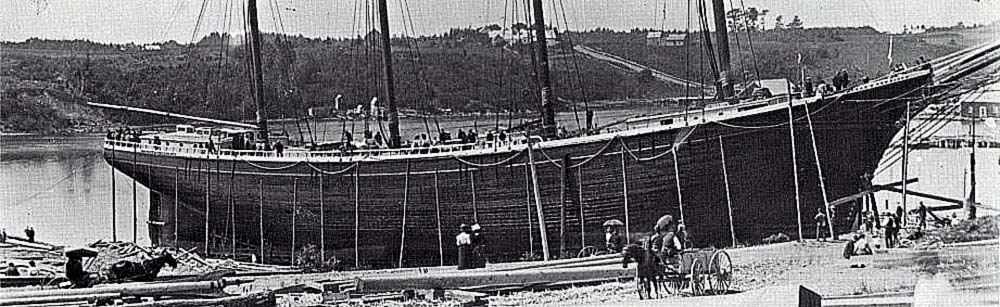 Preparing for the launch of a four masted schooner.