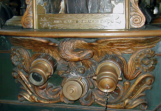 Hand carved eagle and scrollwork on engine built by John Agnew or Philadelphia.