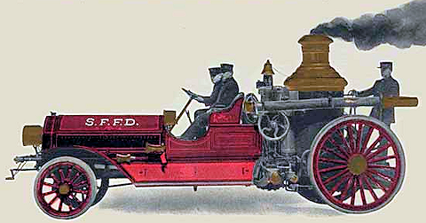 postcard image of steamer with a tractor.