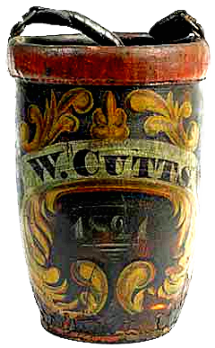 1821 fire bucket with large gold scrolls.
