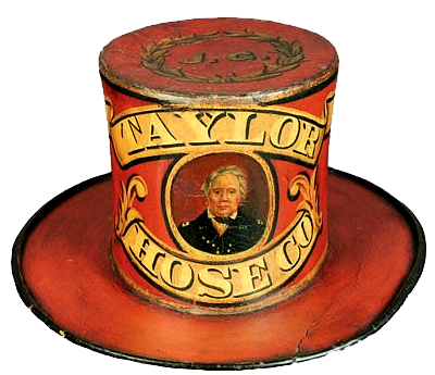Taylor Hose Co. parade hat with oil portrait.