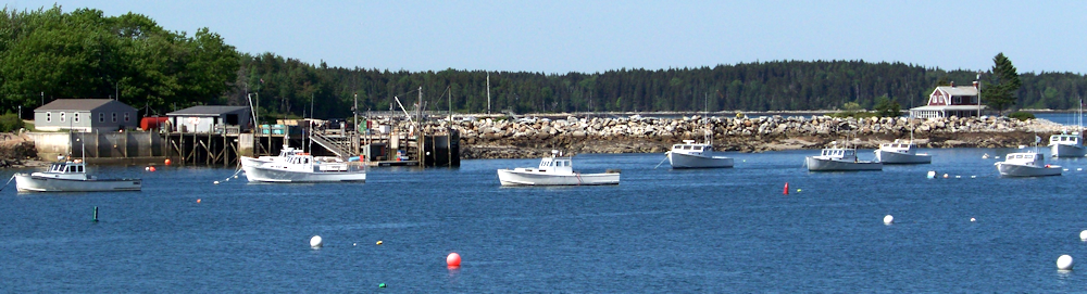 Mouse island causway and lobster fleet.