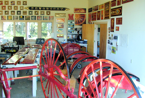 The old shop full of fire engine parts.