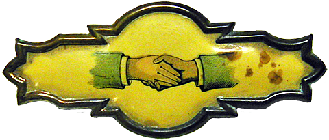 hand-in-hand lapel pin.