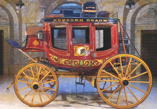 Concord stage coach in standard red over chrome yellow color scheme.