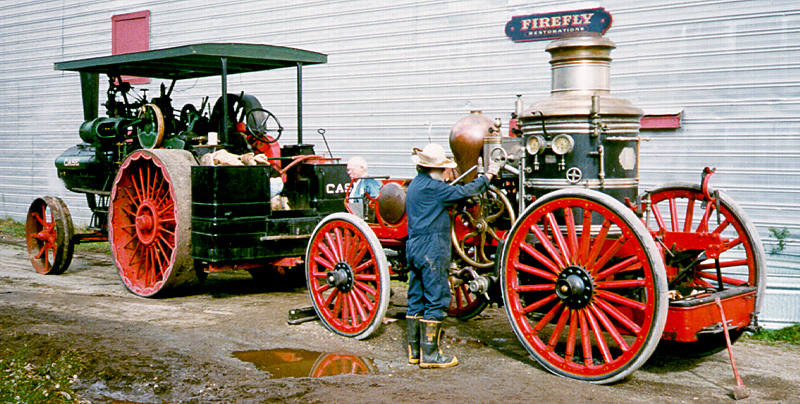 Ken Soderbeck at Firefly Restoration steaming an Amoskeag engine from Belfast ME.