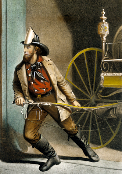 Currier and Ives print of Nathaniel Currier as a fireman.
