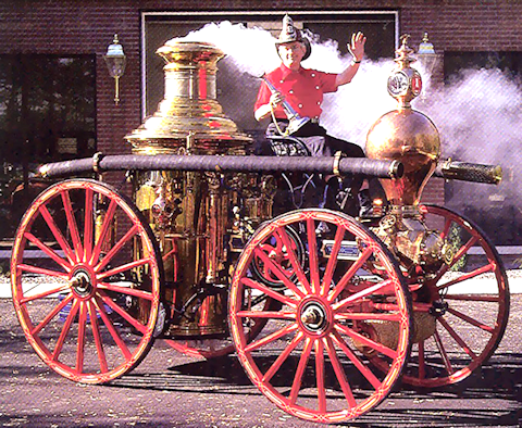 Fred Conway on his 1875 Clapp & Jones steam fire engine
