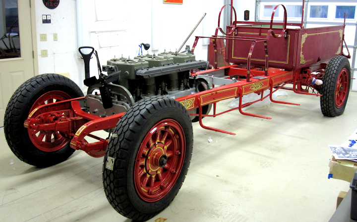 1927 fire engine restoration in Fire Gold shop for decorating.