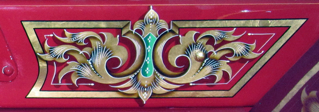Scroll gilded and painted by Peter Achorn on a 1927 American LaFrance fire engine.