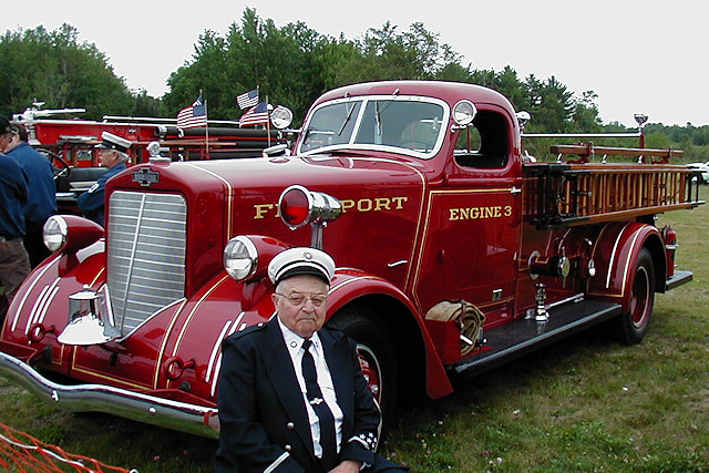 Freeport Maine Fire Dept. showing their 1939 American LaFrance fire engine.
