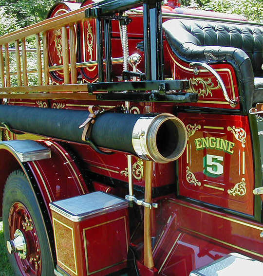 Side detail of 1925 Ahrens-Fox fire engine.
