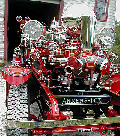 1924 Ahrens-Fox piston pump with gold stripes and nickle plating.
