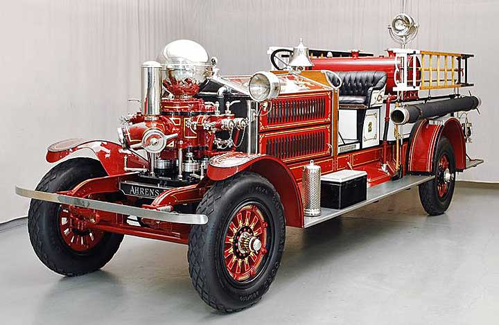 Restored 1925 Ahrens-Fox fire engine at Firefly Restoration.