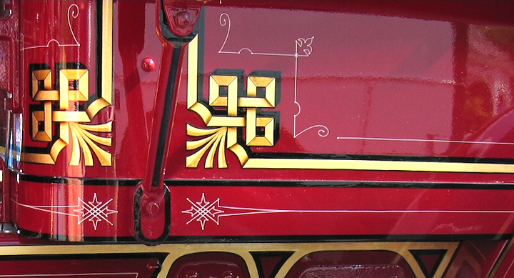 Hose body corner decoration on a 1926 Maxim fire engine
