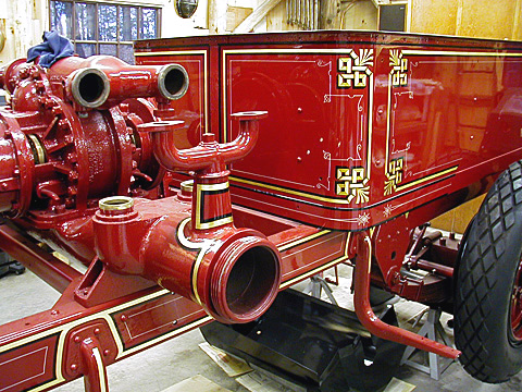 Pump and hose body of 1926 Maxim fire engine