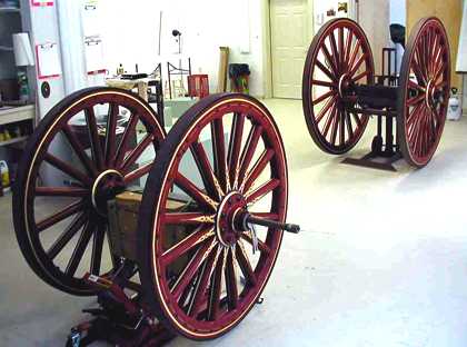 1907 Amoskeag steamer wheels after gold was applied.