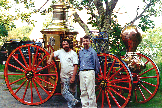 Andy Swift and Peter Achorn in 1995 with a 1875 Clapp & Jones steamer.