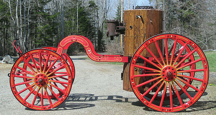 1870 Amoskeag steam fire engine frame, boiler and wheels