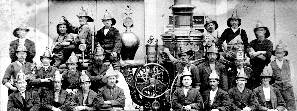 Portsmouth NH firemen with their 1870 Amoskeag steamer
