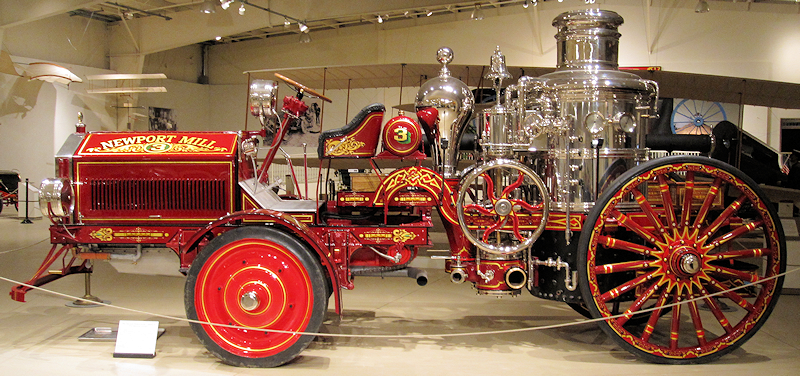 Tractor driven steam fire engine Vesuvius displayed at the Owls Head Transportation Museum.
