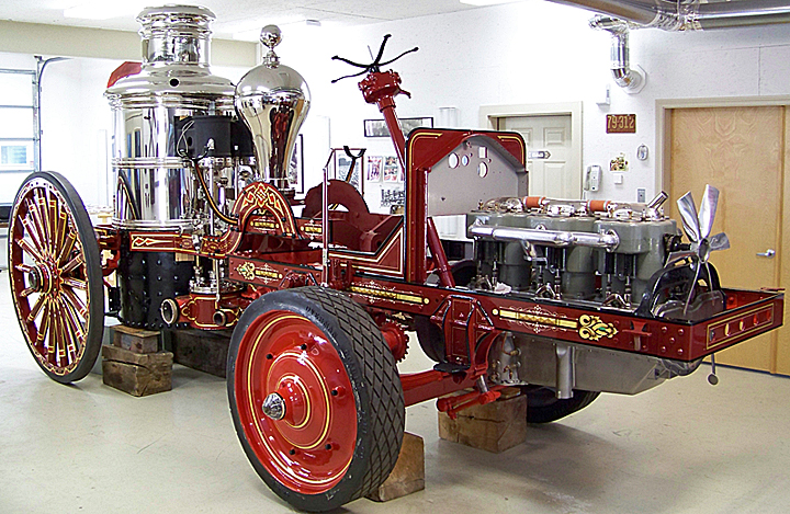 Tractor driven steam fire engine Vesuvius in Firegold Shop, ready to resturn to Firefly Restoration shop.