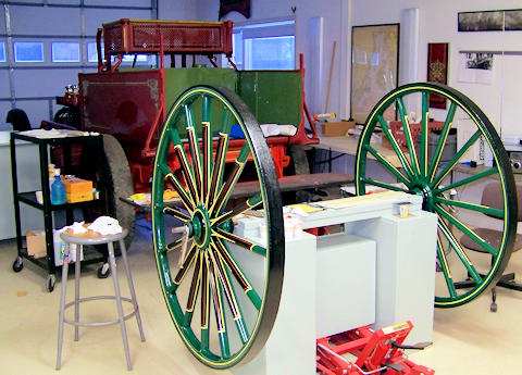 Green wheels from 1860 getting stripes.