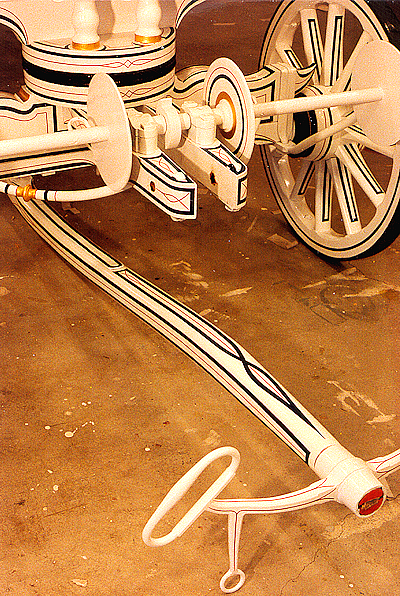 stripes and lines on front end assembly of 1857 Button & Blake hand fire engine